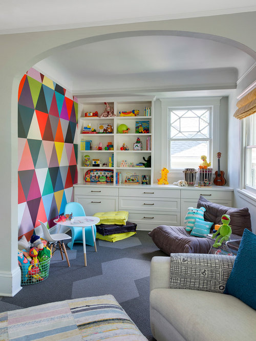 Bon Transitional Gender Neutral Carpeted Playroom Photo In Minneapolis With  Multicolored Walls. Save Photo. Lucy Interior Design