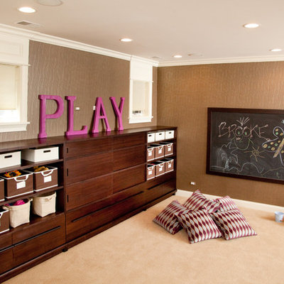 Example of a large transitional gender-neutral carpeted and beige floor kids' room design in Chicago with brown walls