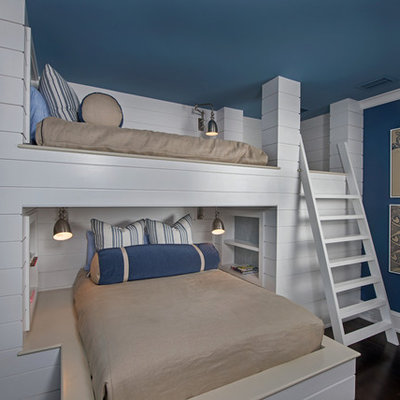 Inspiration for a mid-sized timeless boy dark wood floor kids' room remodel in Orlando with blue walls