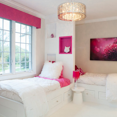 Example of a mid-sized trendy girl carpeted kids' room design in Philadelphia with beige walls