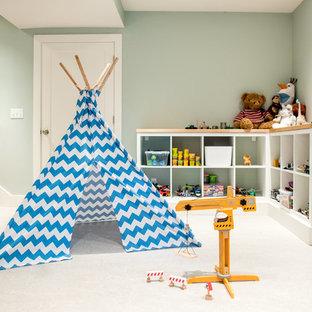 Imagen de dormitorio infantil de 4 a 10 años, de estilo americano, con paredes verdes y suelo blanco