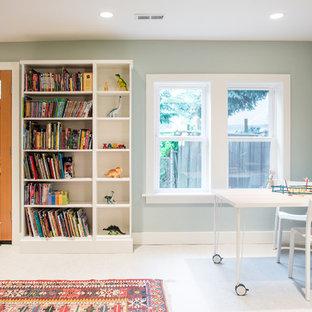 Ejemplo de dormitorio infantil de 4 a 10 años, de estilo americano, con paredes verdes y suelo blanco