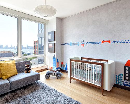 Example Of A Mid Sized Minimalist Boy Medium Tone Wood Floor And Beige  Floor Toddler