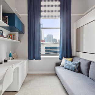 Urban boy carpeted and gray floor kids' room photo in Chicago with gray walls