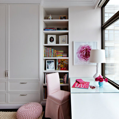 Inspiration for a large transitional girl dark wood floor kids' room remodel in New York with gray walls