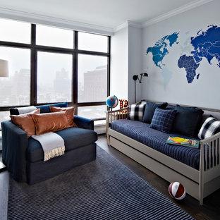 Kids' room - large transitional boy dark wood floor kids' room idea in New York with gray walls