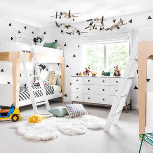 Новый формат декора квартиры: детская в современном стиле с белыми стенами и ковровым покрытием для ребенка от 4 до 10 лет, девочек или мальчиков