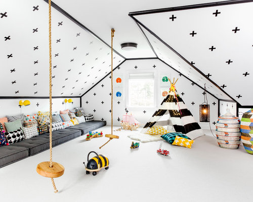 Example Of A Large Trendy Gender Neutral Carpeted And White Floor Kidsu0027 Room  Design Part 23