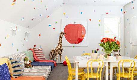 Idea to steal: Klebepunkte als fröhliche Wanddeko im Kinderzimmer
