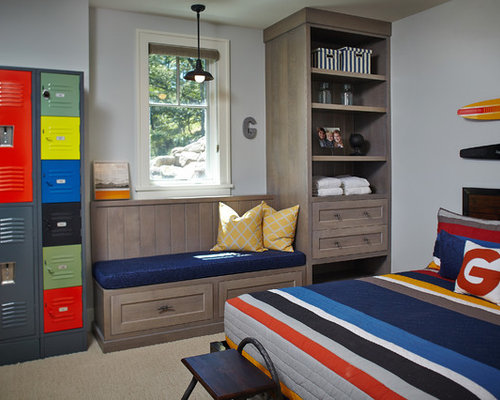 locker for bedroom. Inspiration for a beach style kids  room remodel in Grand Rapids with gray walls Baseball Locker Room Houzz