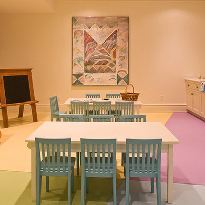 Kids' room - traditional gender-neutral kids' room idea in Atlanta with multicolored walls