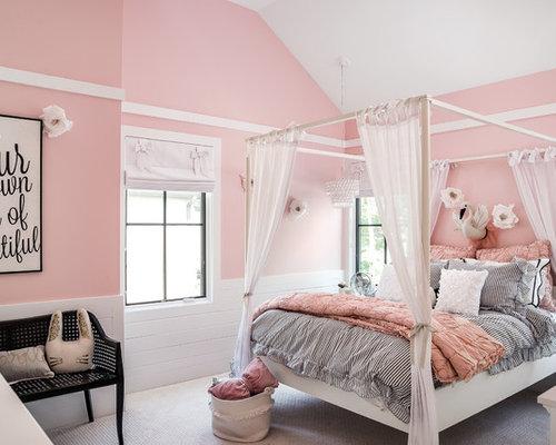 Perfekt Country Jugendzimmer Mit Schlafplatz, Rosa Wandfarbe, Teppichboden Und  Weißem Boden In Chicago