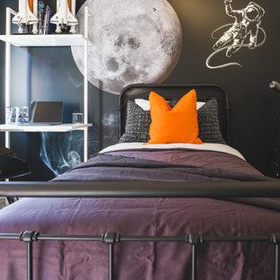 Chambre d\'enfant moderne avec un mur noir : Photos et idées déco de ...