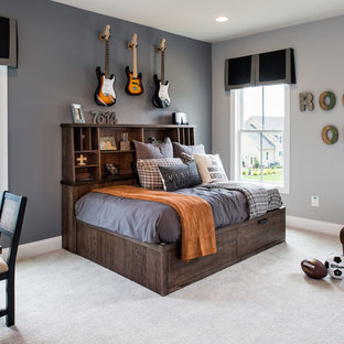 Example Of A Transitional Boy Carpeted Kidsu0027 Room Design In DC Metro With  Gray Walls