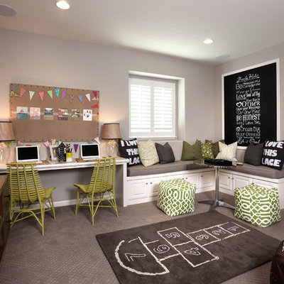 Beach style gender-neutral carpeted kids' study room photo in San Francisco with gray walls