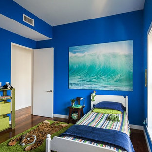 Inspiration for a mid-sized contemporary boy dark wood floor and brown floor kids' room remodel in New York with blue walls