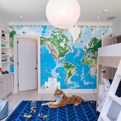 Transitional boy light wood floor kids' room photo in Raleigh with multicolored walls