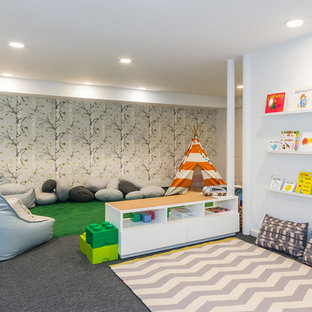 Inspiration for a mid-sized contemporary gender-neutral carpeted and gray floor kids' room remodel in New York with multicolored walls