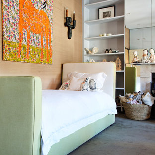 Design ideas for a contemporary kids' bedroom in Sydney with carpet and grey floor.