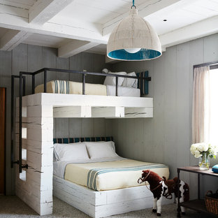 Mountain style gender-neutral carpeted and gray floor kids' room photo in Other with gray walls