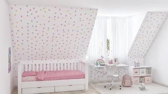 Mädchenzimmer mit Kinderbett LISTO und Schreibtisch KINTO