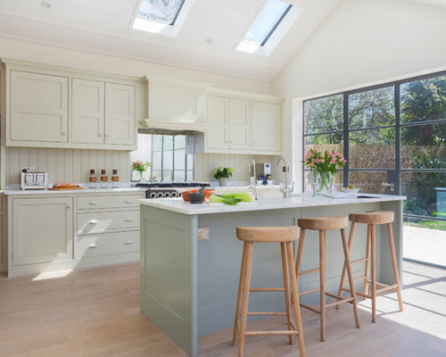Design Ideas For A Large Scandi Single Wall Kitchen/diner In London With  Shaker