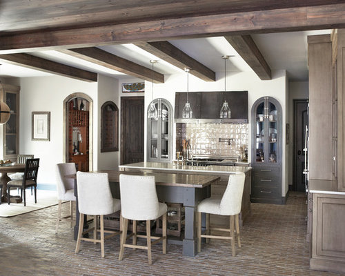 Inspiration for a timeless brick floor eat in kitchen remodel in Other with  brown cabinetsBrown And White Kitchen   Houzz. White And Brown Kitchen Designs. Home Design Ideas