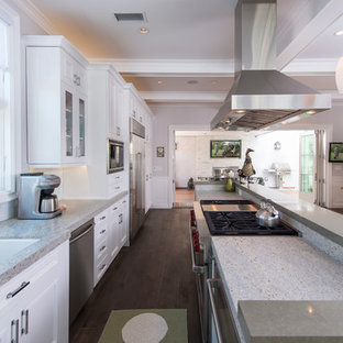 Eat-in kitchen - traditional galley eat-in kitchen idea in Los Angeles with a double-bowl sink