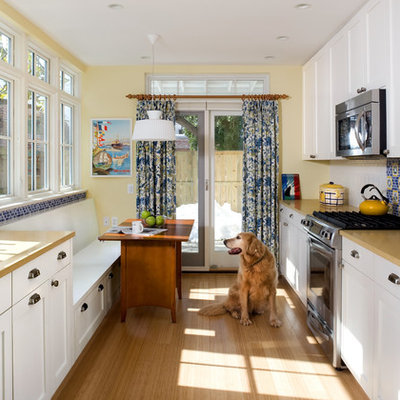 Enclosed kitchen - traditional galley enclosed kitchen idea in DC Metro with white cabinets, multicolored backsplash, stainless steel appliances and shaker cabinets