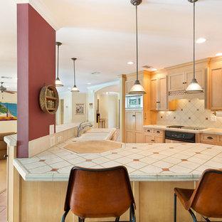 マイアミの中くらいのトラディショナルスタイルのおしゃれなキッチン (アンダーカウンターシンク、落し込みパネル扉のキャビネット、淡色木目調キャビネット、タイルカウンター、マルチカラーのキッチンパネル、セラミックタイルのキッチンパネル、シルバーの調理設備、赤い床、マルチカラーのキッチンカウンター、テラコッタタイルの床) の写真