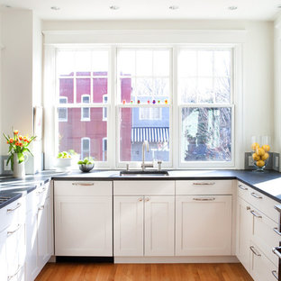 Kitchen - traditional kitchen idea in DC Metro with a single-bowl sink, white cabinets, shaker cabinets and black appliances