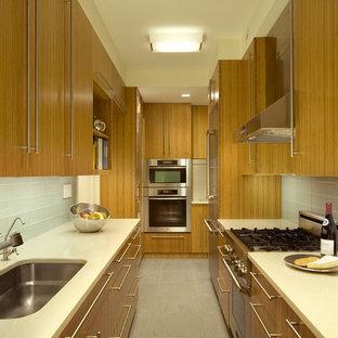 ニューヨークの中サイズのコンテンポラリースタイルのおしゃれなキッチン (ガラスタイルのキッチンパネル、シルバーの調理設備の、アンダーカウンターシンク、白いキッチンパネル、フラットパネル扉のキャビネット、中間色木目調キャビネット、珪岩カウンター、セラミックタイルの床、アイランドなし、グレーの床) の写真