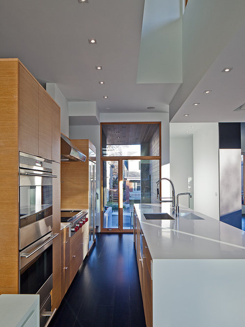 Trendy galley kitchen photo in Toronto with stainless steel appliances,  flat-panel cabinets and