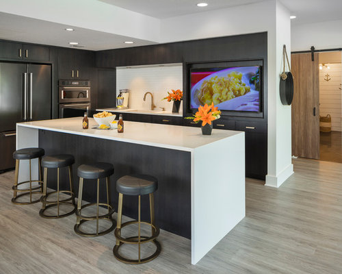 Large Contemporary Eat In Kitchen Appliance   Large Trendy Gray Floor  Eat In Kitchen