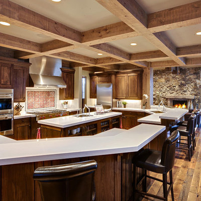 Kitchen - rustic kitchen idea in Salt Lake City with stainless steel appliances