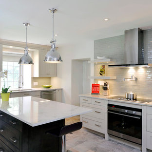 Inspiration for a transitional kitchen in Toronto with open cabinets, white cabinets, beige splashback and subway tile splashback.