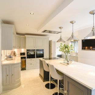 1909 In-Frame shaker style traditional kitchen in dove grey and charcoal