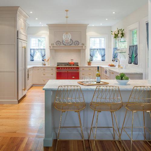 large transitional eat in kitchen appliance   example of a large transitional u shaped 1910 kitchen ideas  u0026 photos   houzz  rh   houzz com
