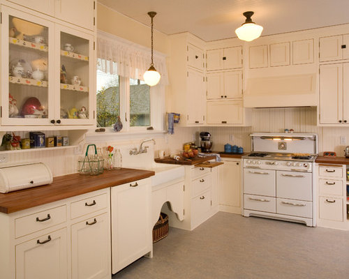 Nice Shabby Chic Style Kitchen Idea In Seattle With A Farmhouse Sink, Wood  Countertops, Part 2