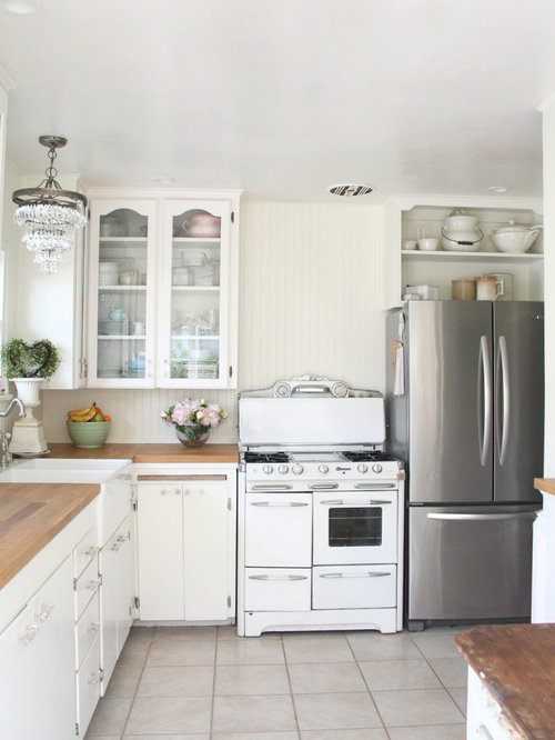 Houzz Shabby Chic Style L Shaped Kitchen Design Ideas