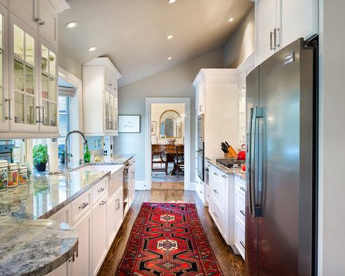 Mid Sized Elegant Galley Dark Wood Floor And Brown Floor Enclosed Kitchen  Photo In Charlotte
