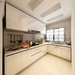 Inspiration for a small modern l-shaped separate kitchen in Other with a double-bowl sink, beaded inset cabinets, yellow cabinets, quartzite benchtops, white splashback, ceramic splashback, white appliances, ceramic floors, no island, yellow floor and white benchtop.