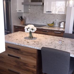 モントリオールのコンテンポラリースタイルのおしゃれなキッチン (フラットパネル扉のキャビネット、白いキャビネット、シルバーの調理設備の、無垢フローリング、アンダーカウンターシンク、テラゾカウンター、白いキッチンパネル、石スラブのキッチンパネル) の写真