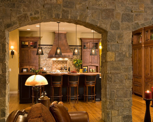 Stone arch houzz for Italian style kitchen designs