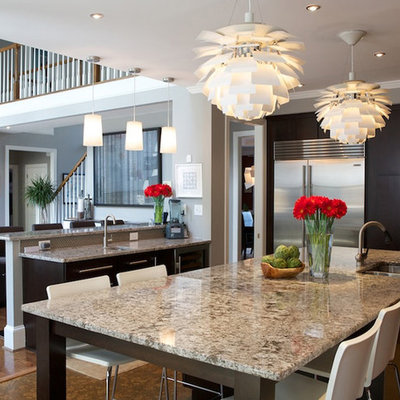 Trendy open concept kitchen photo in Atlanta with stainless steel appliances, a double-bowl sink, flat-panel cabinets, dark wood cabinets and granite countertops
