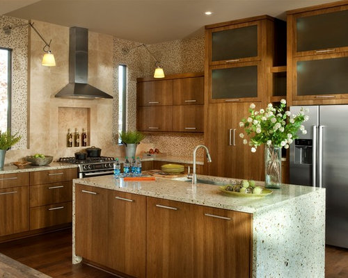 Best Kitchen with Recycled Glass Countertops Design Ideas & Remodel Pictures | Houzz