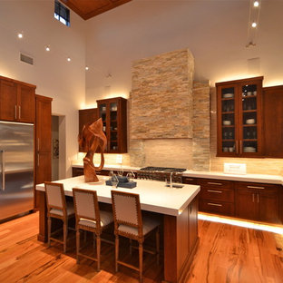 Kitchen Contemporary U Shaped Idea In Austin With Gl Front Cabinets