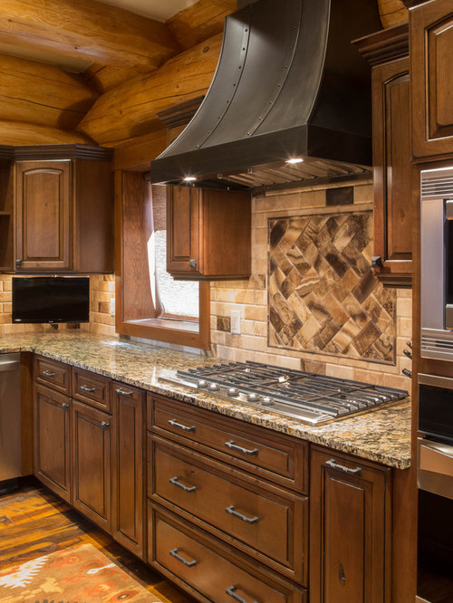 Superior Example Of A Mountain Style Kitchen Design In Denver