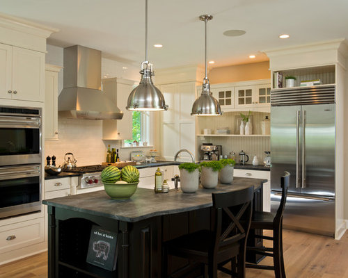 Example Of A Transitional L Shaped Kitchen Design In Boston With A Farmhouse Sink