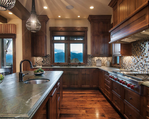 Inspiration For A Rustic Kitchen Remodel In Salt Lake City With  Recessed Panel Cabinets,